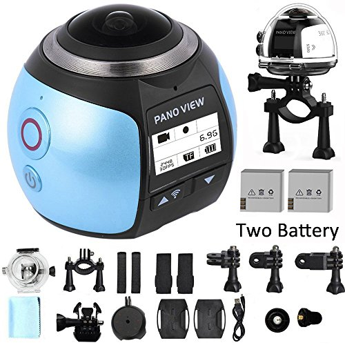 SOYA Wireless 360 Grad Panorama Kamera 3D VR Aktion Sport Kamera Wifi 16MP 4K HD 30fps Wasserdicht 230 ° Objektiv Mini DV Player (V1 Blue)