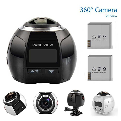 OTHA 4K 360 Sport Kamera 2448 * 2448 16M Ultra HD 360 Grad Panorama-Videokameras Wasserdichte Wifi-Kamera mit 2 Stück Akkus (Schwarz)