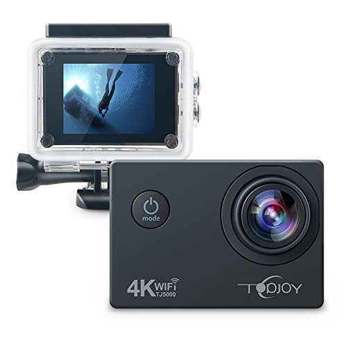 Topjoy Sport Action Kamera TJ5000 4K 16MP Unterwasser Action Kamera mit NTK96660 Chipsatz Sony IMX078 Sensor Gyro WiFi HDMI & AV Out Action Cam für Tauchen Fahrrad Skifahren