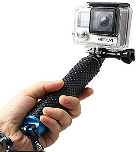 LENDOO Aluminium Einbeinstativ für GoPro , Erweiterbar Self Portrait Wasserdicht Selfie Stick Pole Handheld Monopod Pole für Go Pro HD Hero 5, Gopro Hero 4 Session Actionkameras (Blau)